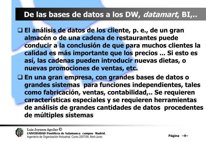 De las bases de datos a los DW,