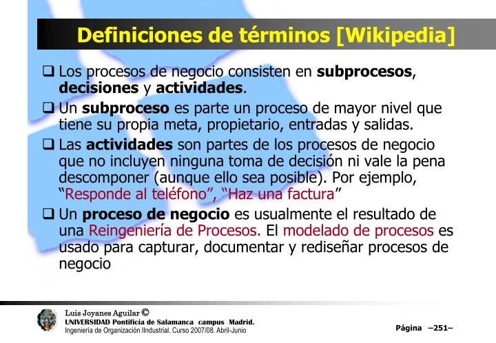 Definiciones de términos [Wikipedia]