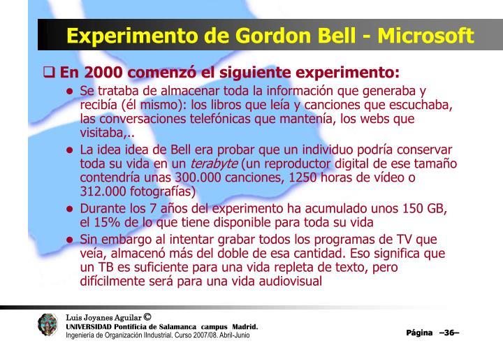 Experimento de Gordon Bell - Microsoft