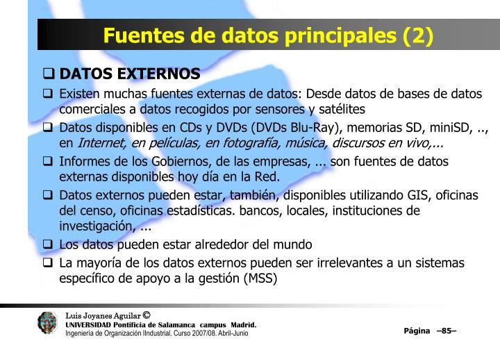 Fuentes de datos principales (2)