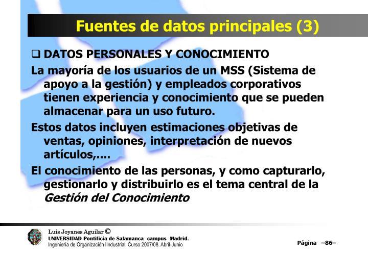 Fuentes de datos principales (3)