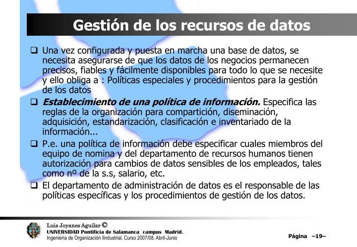 Gestión de los recursos de datos