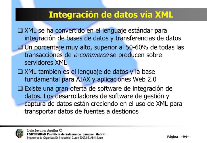 Integración de datos vía XML