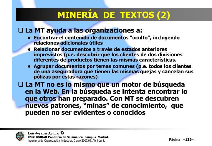 MINERÍA  DE  TEXTOS (2)