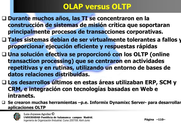 OLAP versus OLTP