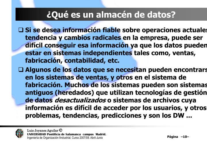 ¿Qué es un almacén de datos?