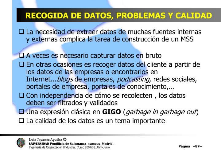 RECOGIDA DE DATOS, PROBLEMAS Y CALIDAD