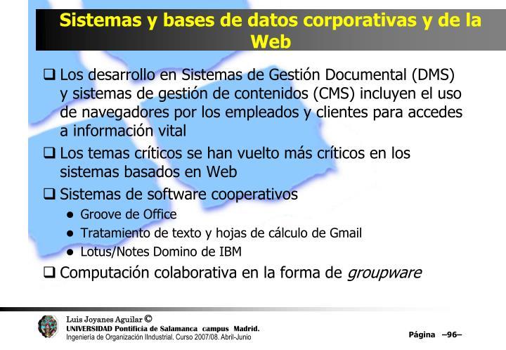 Sistemas y bases de datos corporativas y de la Web