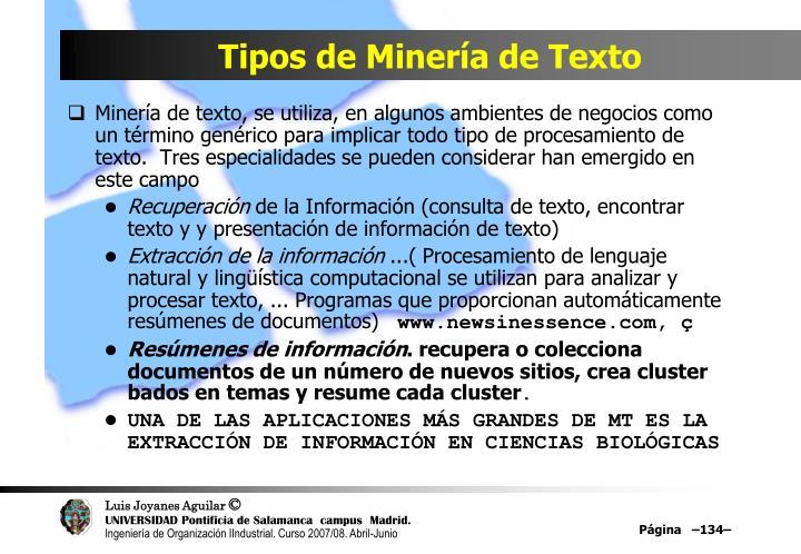 Tipos de Minería de Texto