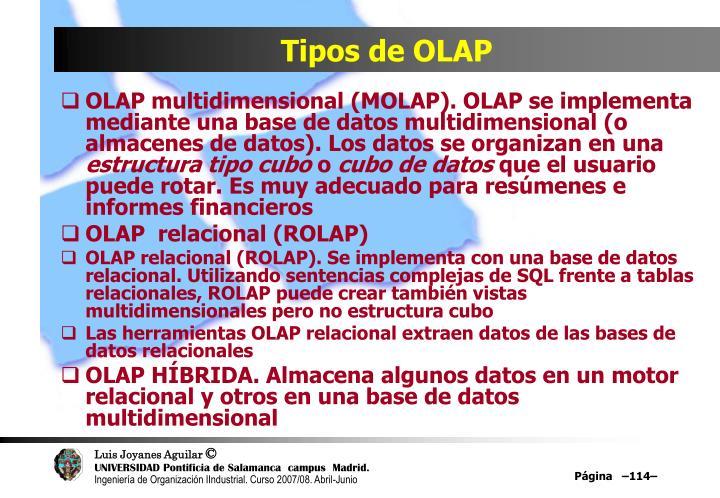 Tipos de OLAP