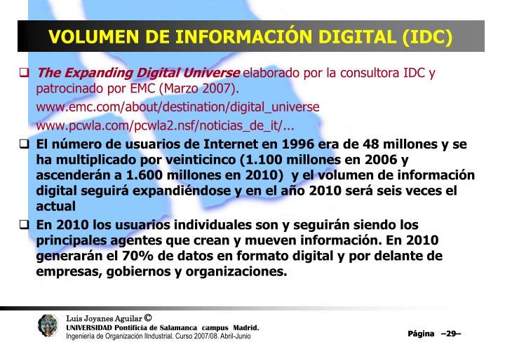 VOLUMEN DE INFORMACIÓN DIGITAL (IDC)