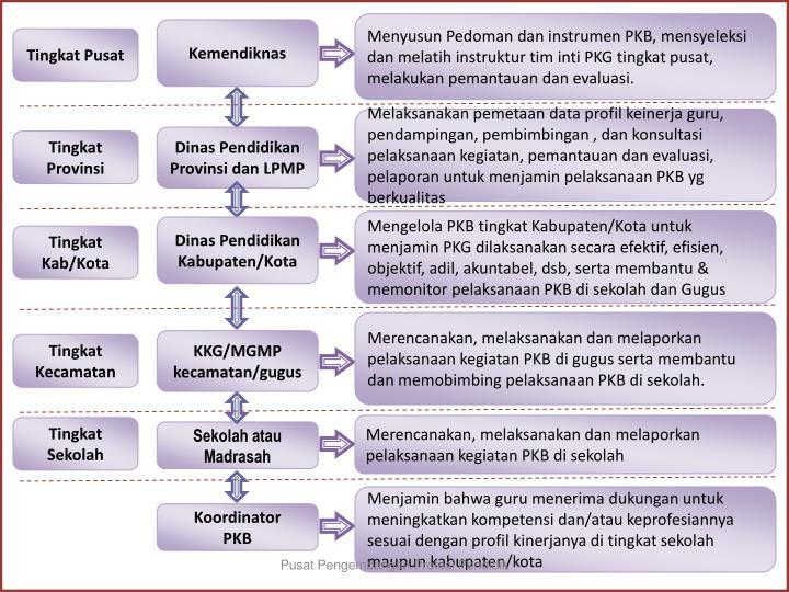 Menyusun Pedoman dan instrumen PKB, mensyeleksi dan melatih instruktur tim inti PKG tingkat pusat, melakukan pemantauan dan evaluasi.
