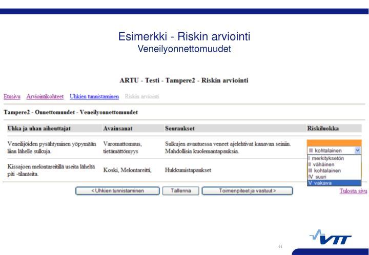 Esimerkki - Riskin arviointi