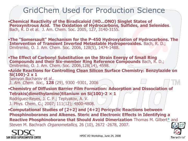 GridChem Used for Production Science