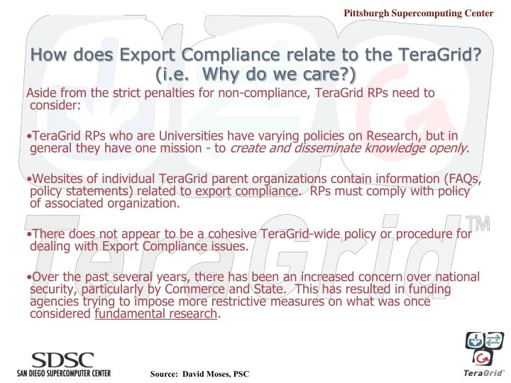 How does Export Compliance relate to the TeraGrid?