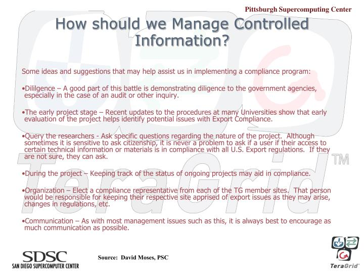 How should we Manage Controlled Information?