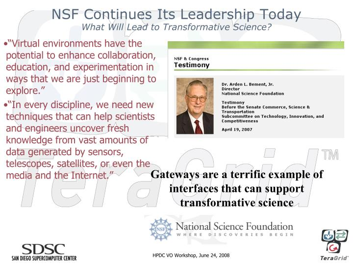 NSF Continues Its Leadership Today