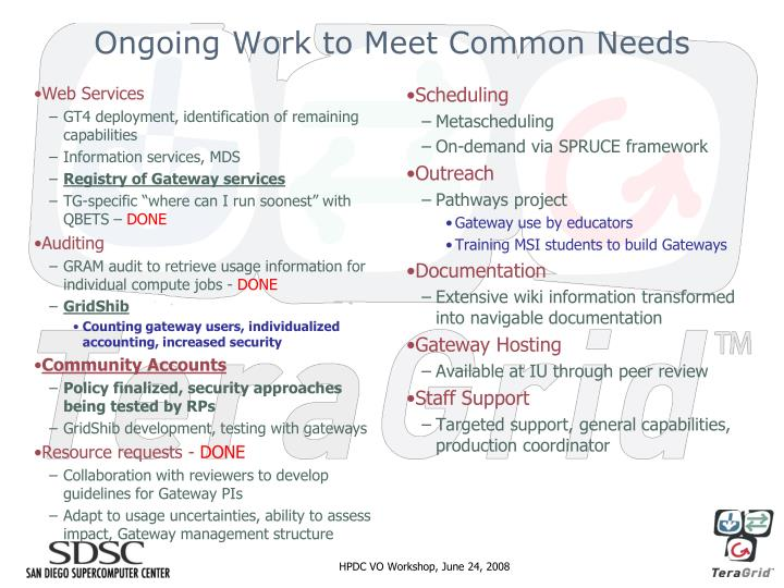 Ongoing Work to Meet Common Needs