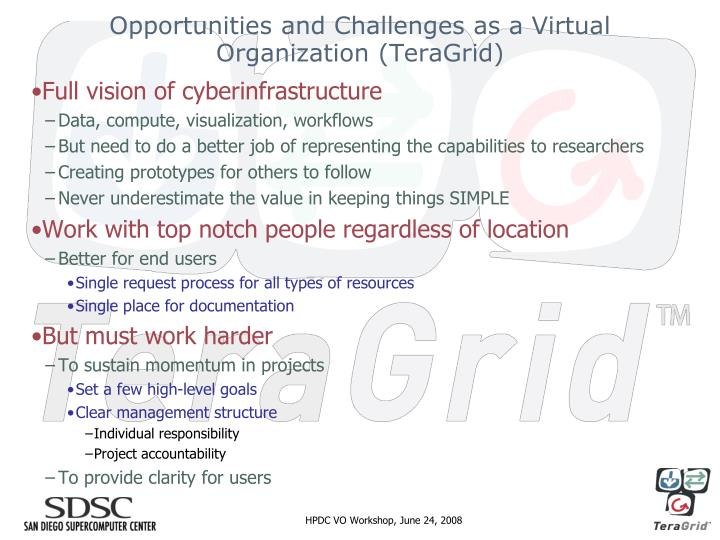 Opportunities and Challenges as a Virtual Organization (TeraGrid)