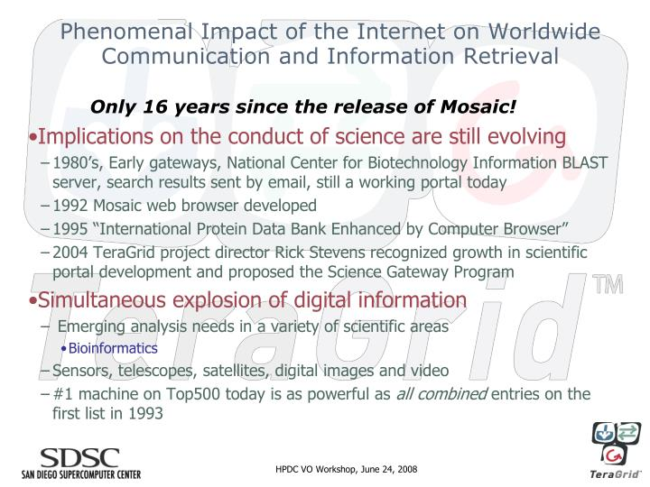 Phenomenal impact of the internet on worldwide communication and information retrieval