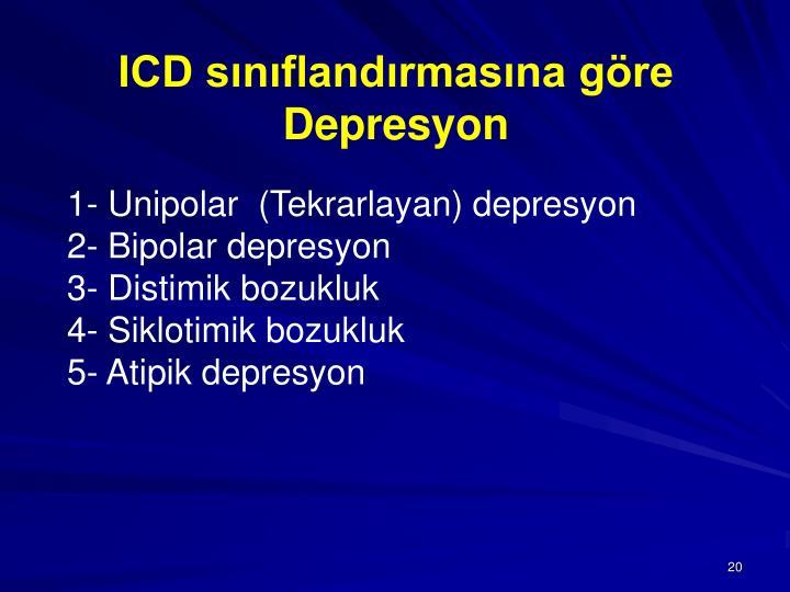 ICD sınıflandırmasına göre Depresyon