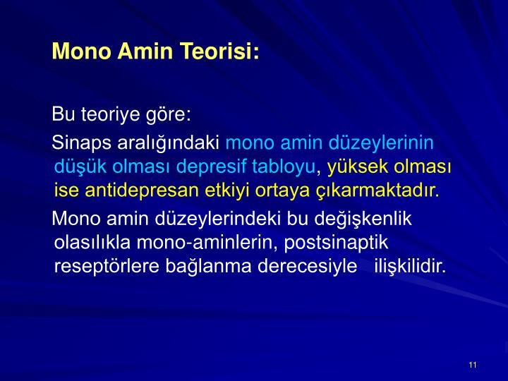 Mono Amin Teorisi: