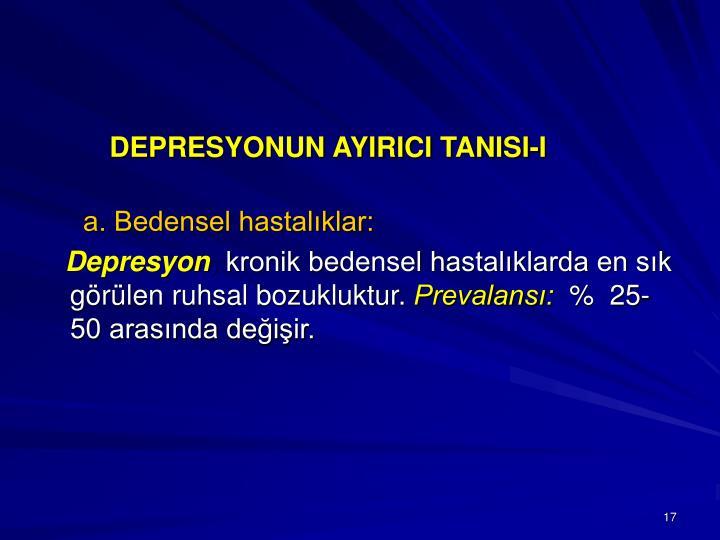 DEPRESYONUN AYIRICI TANISI-I