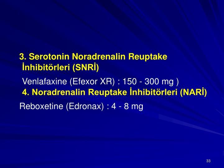 3. Serotonin Noradrenalin Reuptake İnhibitörleri (SNRİ)