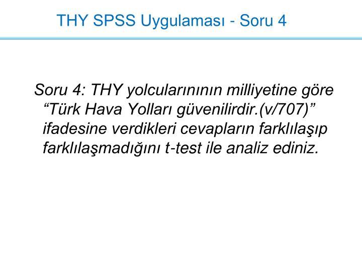 THY SPSS Uygulaması - Soru 4