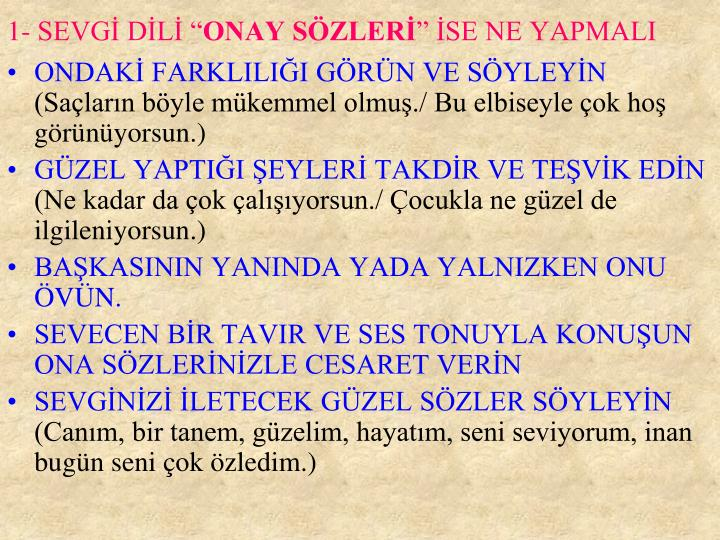 "1- SEVGİ DİLİ """