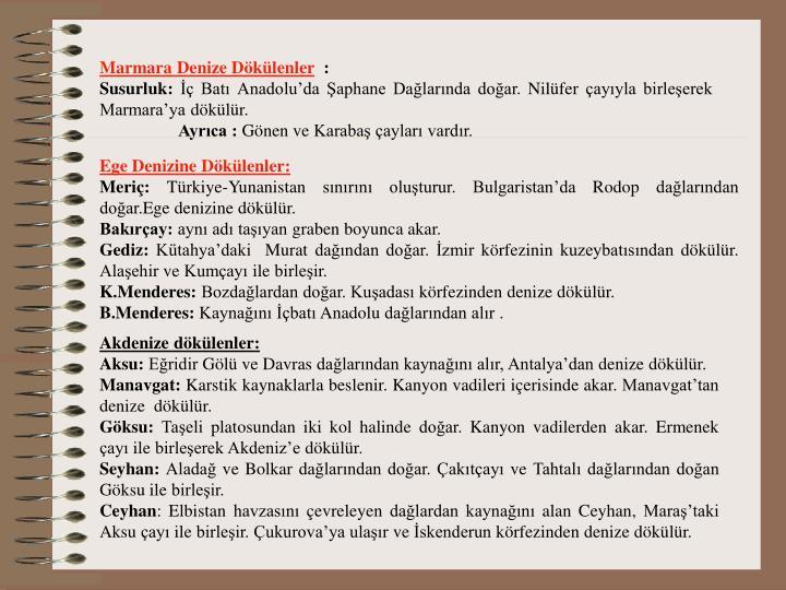 Marmara Denize Dökülenler