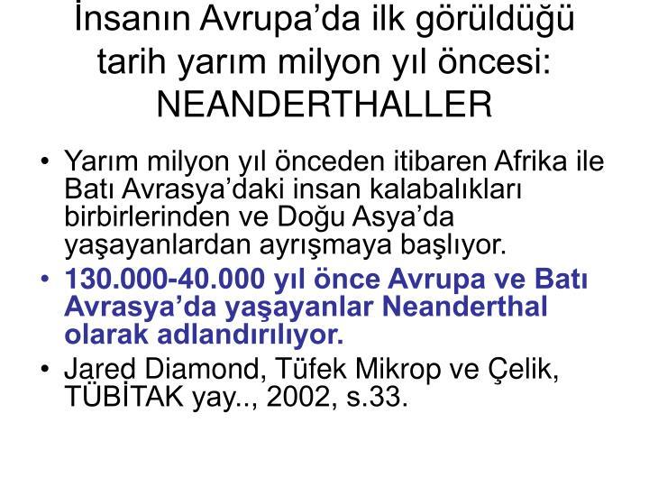 nsann Avrupada ilk grld tarih yarm milyon yl ncesi: NEANDERTHALLER