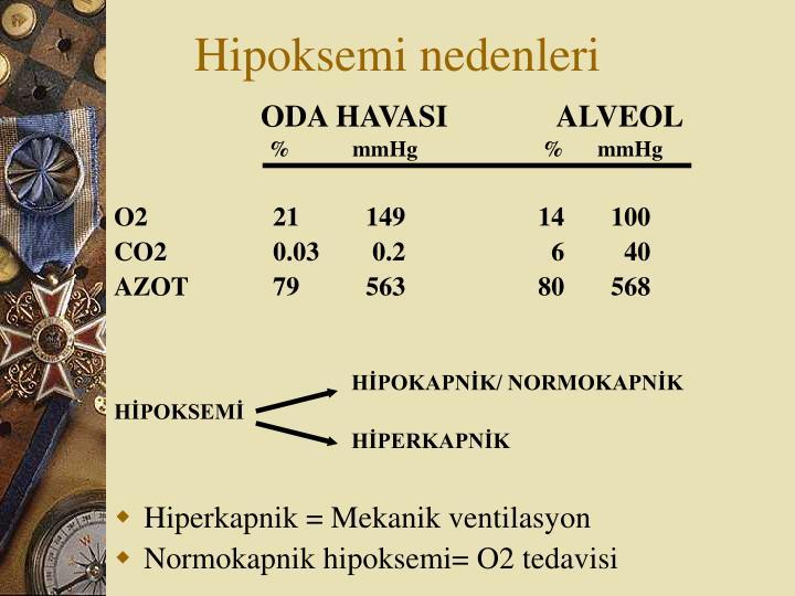 Hipoksemi nedenleri