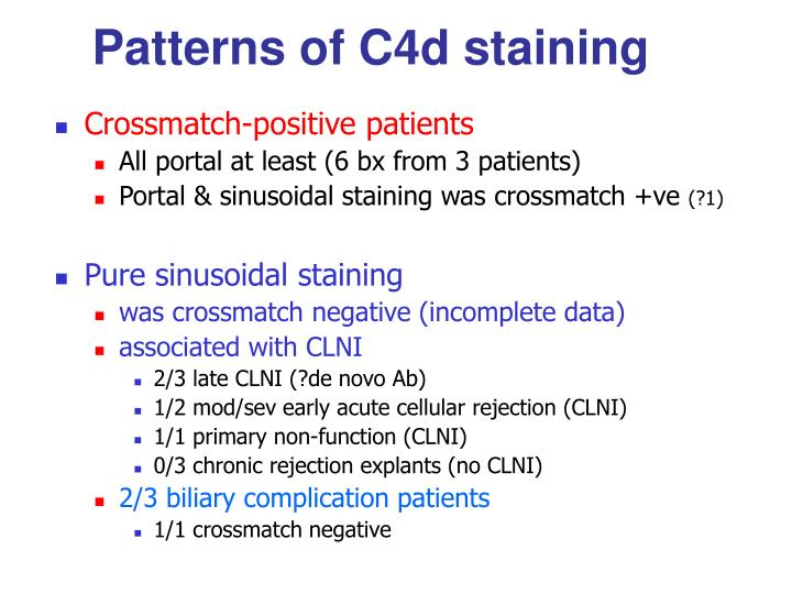 Patterns of C4d staining