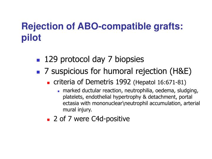 Rejection of ABO-compatible grafts: pilot