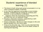 students experience of blended learning 1