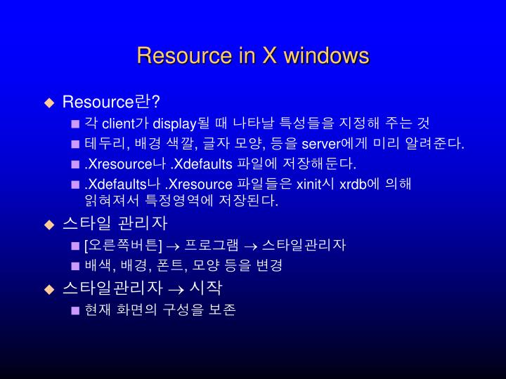 Resource in X windows