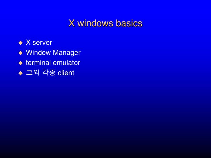 X windows basics
