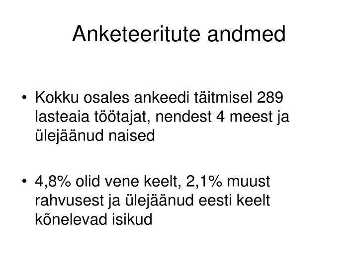 Anketeeritute andmed