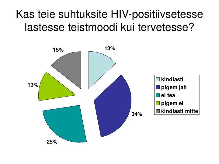 Kas teie suhtuksite HIV-positiivsetesse lastesse teistmoodi kui tervetesse?