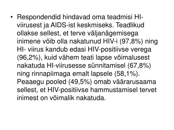 Respondendid hindavad oma teadmisi HI-viirusest ja AIDS-ist keskmiseks. Teadlikud ollakse sellest, et terve väljanägemisega inimene võib olla nakatunud HIV-i (97,8%) ning HI- viirus kandub edasi HIV-positiivse verega (96,2%), kuid vähem teati lapse võimalusest nakatuda HI-viirusesse sünnitamisel (67,8%) ning rinnapiimaga emalt lapsele (58,1%). Peaaegu pooled (49,5%) omab väärarusaama sellest, et HIV-positiivse hammustamisel tervet inimest on võimalik nakatuda.