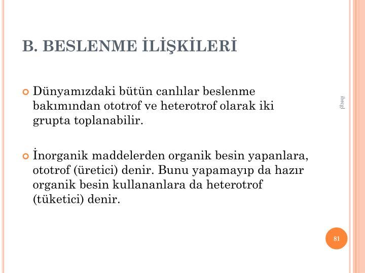 B. BESLENME LKLER