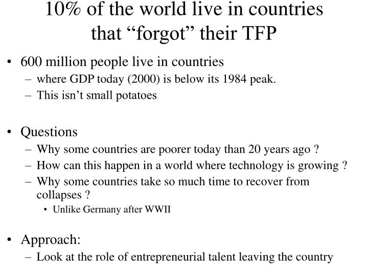 10% of the world live in countries