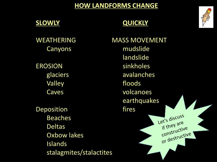 HOW LANDFORMS CHANGE