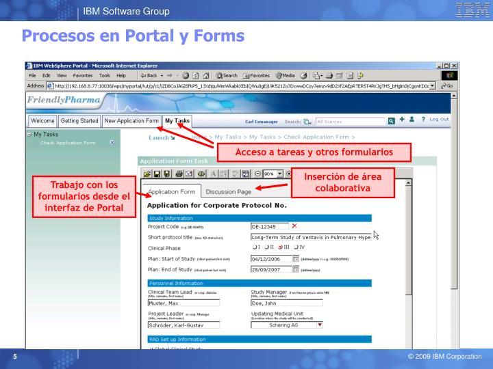 Procesos en Portal y Forms