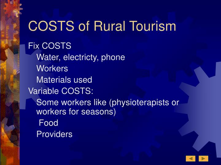 COSTS of Rural Tourism