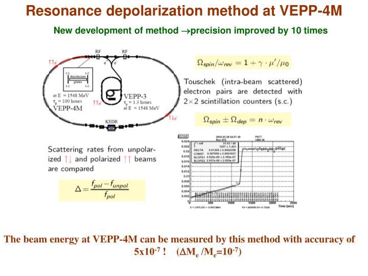 Resonance depolarization method at VEPP-4M