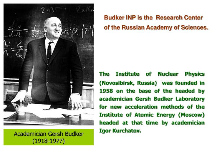 Budker INP is the  Research Center