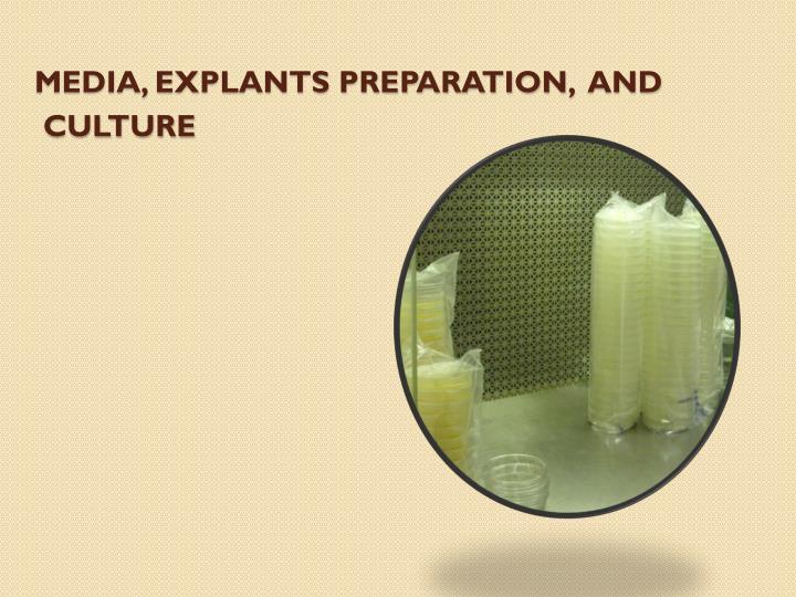 Media, Explants Preparation