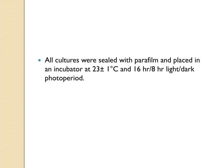 All cultures were sealed with parafilm and placed in an incubator at 23± 1°C and 16 hr/8 hr light/dark photoperiod.